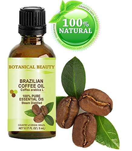 """COFFEE ESSENTIAL OIL Brazilian. 100% Pure/ Undiluted. 0.17Fl.oz.- 5 ml. """" Uplifting, revitalizing and a powerful stimulant for Skin, Hair, Lip and Nail Care """" by Botanical Beauty."""