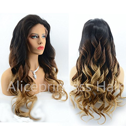 low-cost Aliceprincess Three Tone Ombre Human Hair Full Lace Wig 150 Heavy  Density Ombre 382dd7be2c0c
