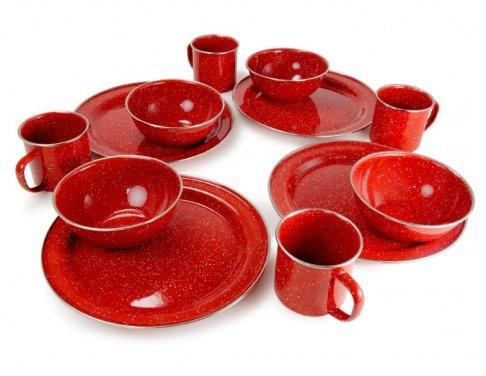 GSI Outdoors Pioneer Enamelware Table Set, 4 Place Settings, Red (Stainless Steel Rim Enamelware Cup)