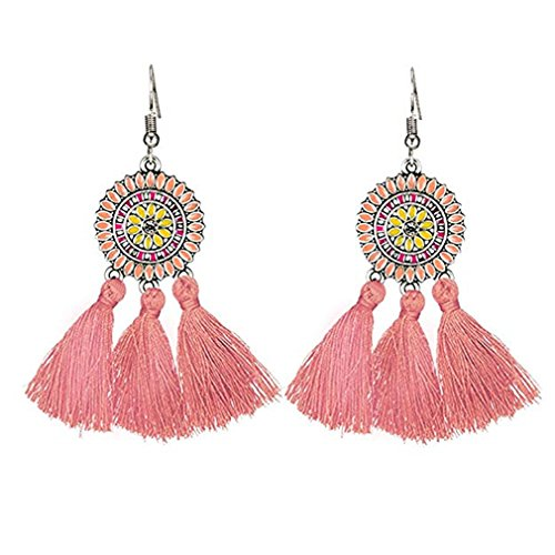 (SOURBAN Bohemian Fringe Earrings Colorful Vintage Ethnic Sunflower Tassel Dangle Earring Eardrop,Pink)