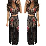 Women's Girls Sexy 2 Pieces See Through Outfits Embroideried Crop Top Midi Skirt Set Midriff-Baring Party Club Bodycon Dress M