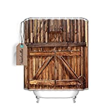 Rustic Country Barn Wood Door Designs Fabric Bath Shower Curtain with Hook,Water Proof and Mildew resistant,Old Wooden Theme,72 x 72 Inch Long,Orange