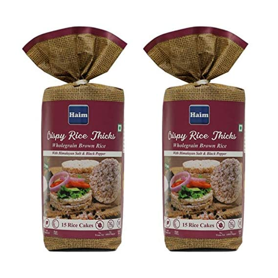 HAIM Organic Crispy Rice Thicks Wholegrain Brown Rice Cakes with Himalayan Salt & Black Pepper -Pack of 2