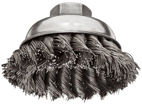 Weiler Wire Cup Brush, Threaded Hole, Steel, Partial Twist Knotted, Single Row, 3-1/2