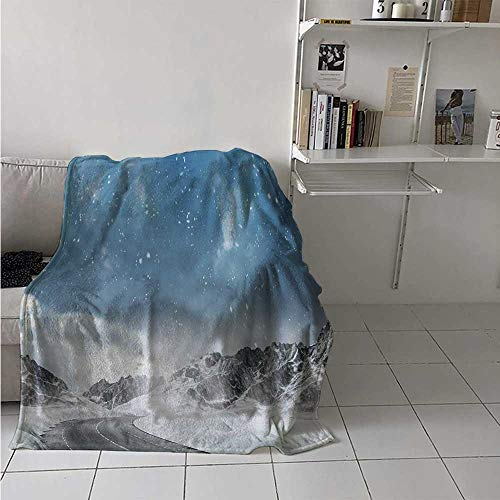 maisi Winter Digital Printing Blanket Seasonal Computer Generated Image Mountains Snowy Curved Road Transportation Summer Quilt Comforter 62x60 Inch Blue Grey White