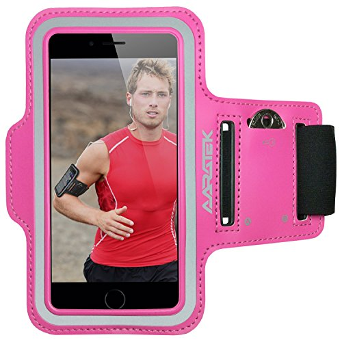 AARATEK Pro Sport Armband for iPhone 6,6s, Galaxy S6,S5,S4, iPods... (Pink) - Best for running, workouts, cycling, fitness, or any activity outside or in the gym!