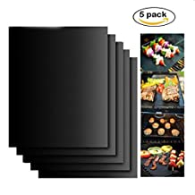 Lychee® 5 Pack of BBQ Grill Mat Reusable Heavy Duty Non-Stick Barbecue & Baking Pad for Electric Gas Charcoal Grill – 15.75〃x 13〃Black (Black, Pack of 5)