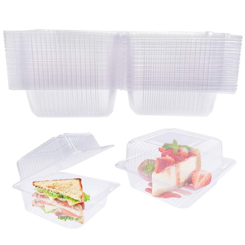 50 Pcs Clear Hinged Plastic Food Take Out Containers,Disposable Clamshell Dessert Container,5.1