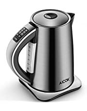 Electric Kettle Temperature Control (PRO), 3000W Rapid Boil Water Kettle, Premium Stainless Steel Kettle, 120mins Stay Warm Function for Tea and Coffee Brewing, 1.7L, Aicok