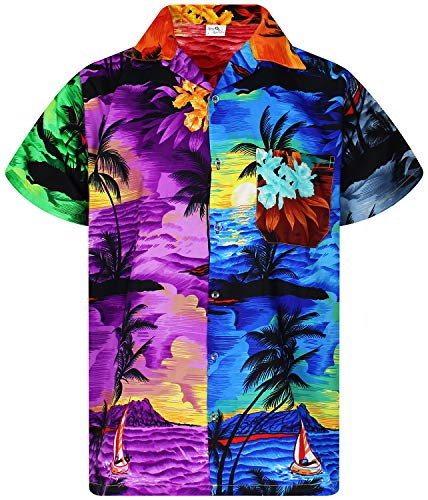King Kameha Funky Hawaiian Shirt, Shortsleeve, Surf, Mondy, XS]()