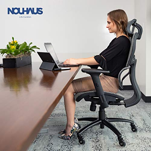 NOUHAUS Ergo3D Ergonomic Office Chair - Rolling Desk Chair with 4D Adjustable Armrest, 3D Lumbar Support and Extra Blade Wheels - Mesh Computer Chair, Gaming Chairs, Executive Swivel Chair (Gray)