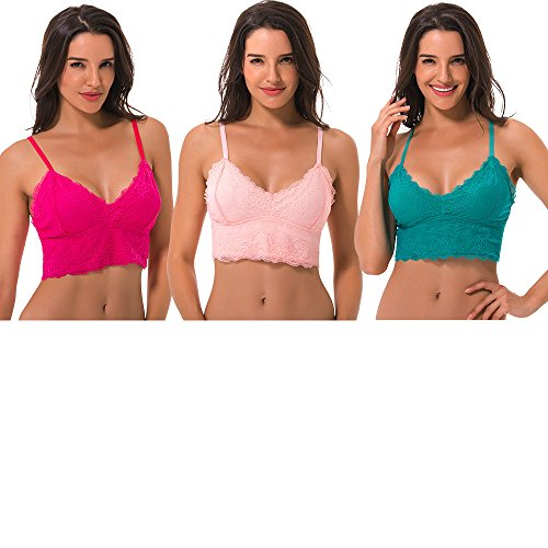 Curve Muse Women's Crop Top Longline Sheer Lace Bralette-3Pack-Teal,Hot Pink,Peach-M (Bustier Longline Underwire Lace)