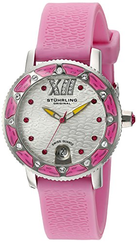 Stuhrling Original Women's 225R.1116A2 Nautical Regatta Marina Sport Swiss Quartz Swarovski Date Pink Rubber Strap Watch by Stuhrling Original