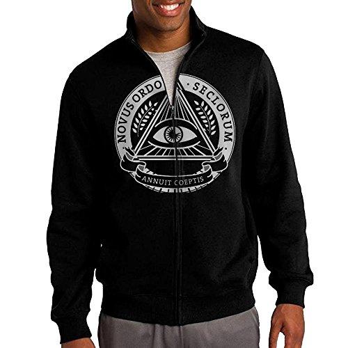 Zombie Britney Spears Costume (Men's Illuminati Pyramid Solid Stand Collar Zipper Jacket Size XXL)