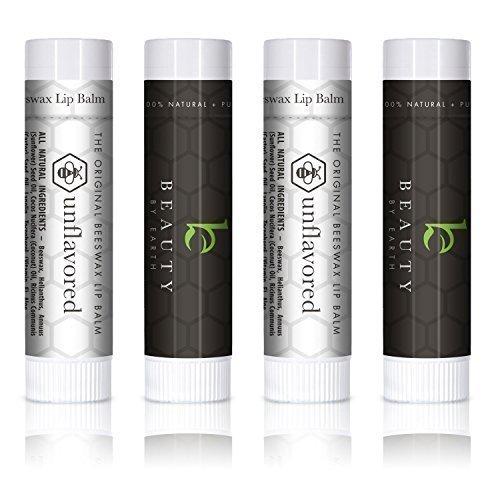 Lippenbalsam - Original ohne Parfüm oder Aroma (4-er Packung) - Lippenpflege mit Aloe Vera und Vitamin E für weiche und intensiv gepflegte Lippen. 100% aus natürlichem und reinem Bienenwachs Lippenbalsam - Hergestellt in USA von Beauty by Earth