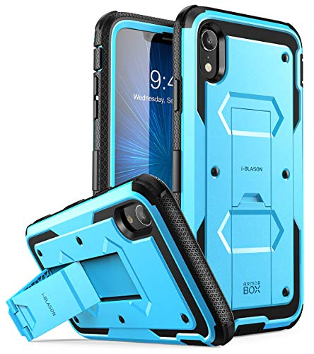 i-Blason Built in Screen Protector Full Body Heavy Duty Protection Kickstand Shock Reduction Case for Apple iPhone XR 2018 Release, Blue, 6.1