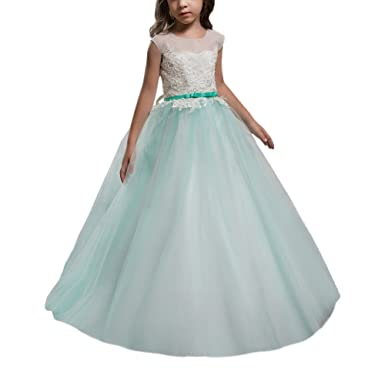 Abwedding Green Sleeveless Lace Up Ball Gown Flower Girl Dresses Size 2