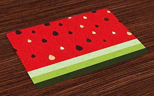 Ambesonne Nature Place Mats Set of 4, Macro Watermelon Pattern Fresh Ripe Organic Fruit Seeds Cute Artsy Illustration, Washable Fabric Placemats for Dining Room Kitchen Table Decor, Red Green Black -
