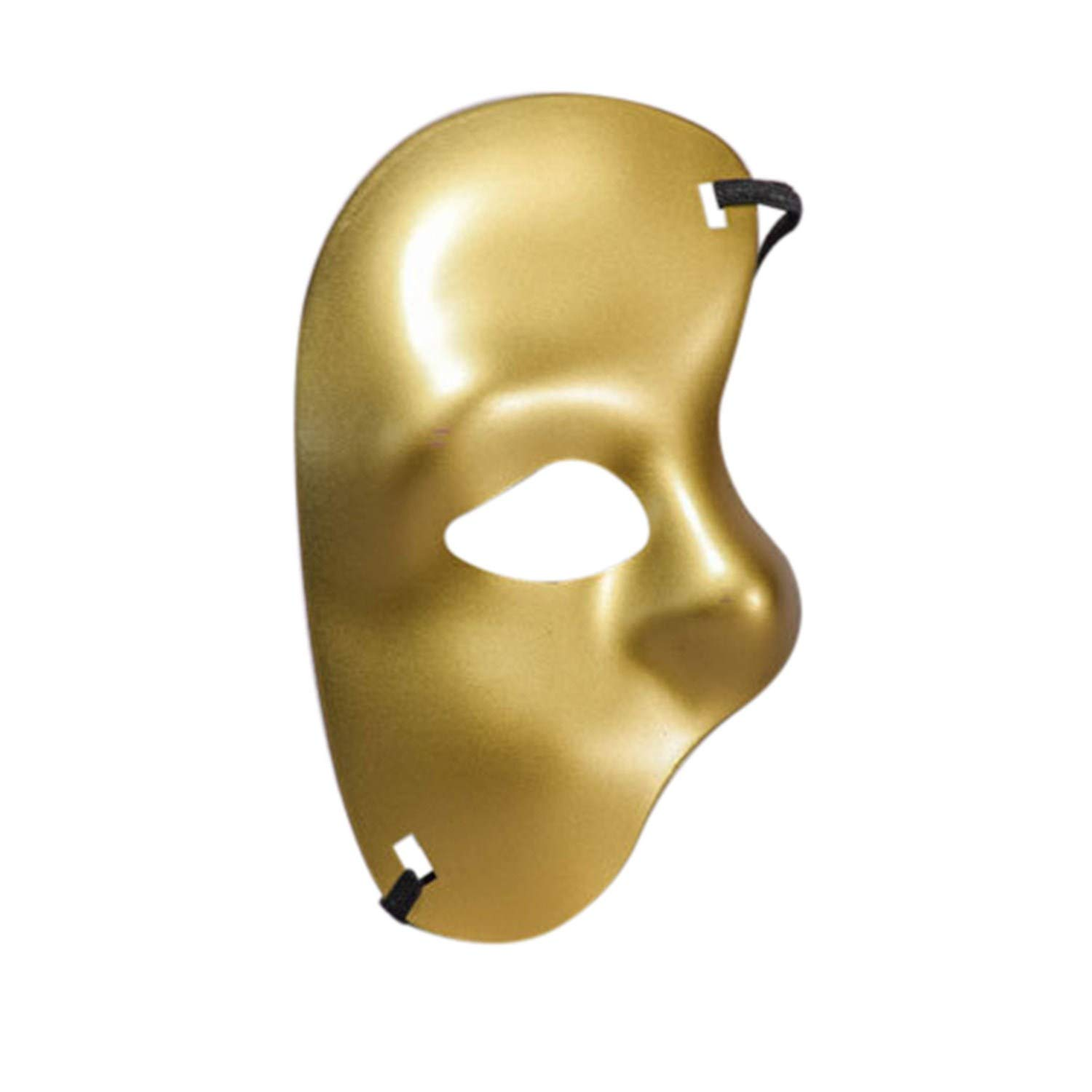 Halloween Mask-Han Shi Masquerade Cutout Half Face Cosplay Prom Party Accessories (Gold, M)