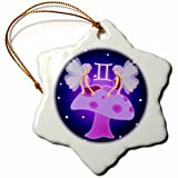 3dRose orn_28554_1 Cute Astrology Gemini Zodiac Sign Twins Porcelain Snowflake Ornament, 3-Inch