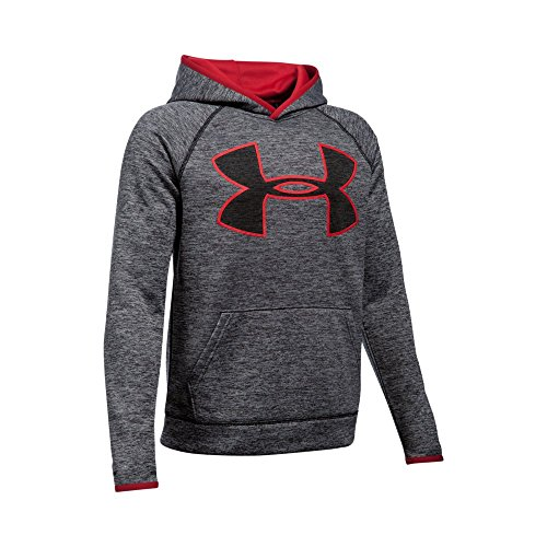 Under Armour Boys' Storm Armour Fleece Twist Highlight Hoodie, Black/Red, Youth Large