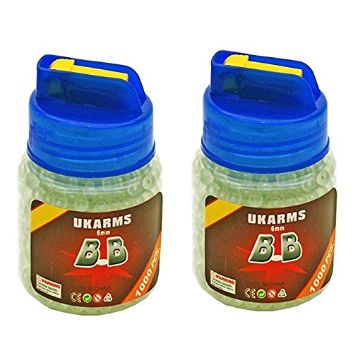 UKARMS Airsoft BBs Glow in The Dark 6 mm 0.12 gr with BB Speed Loader for Airsoft Guns Pack of 2 Total 2000 Rounds