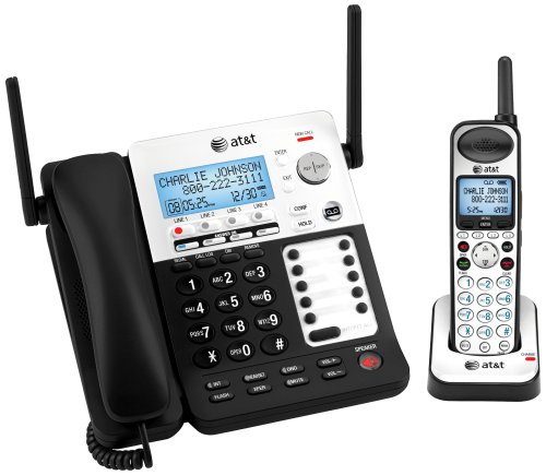 (AT&T SB67118 DECT 6.0 Corded/Cordless Phone, Black/Silver, 1 Base and 1 Handset)