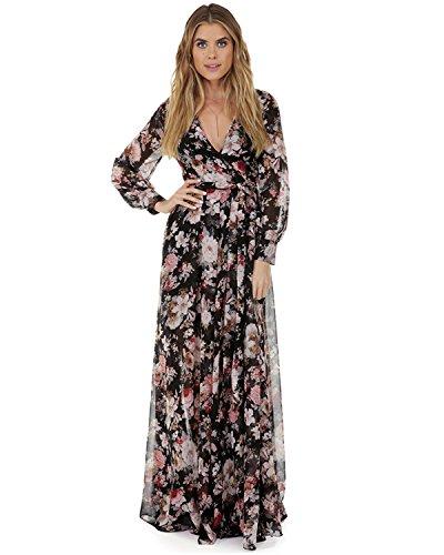Vintage 70s Plaid (ZAFUL Women Vintage Floral Long Sleeve Dress Bohemian Chiffon Wrap Boho Maxi Dresses(Black and Pink, 2XL))