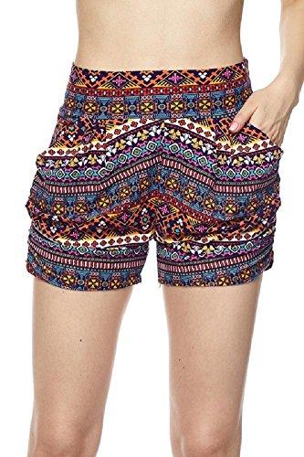Premium Ultra Soft and Comfy Yummy Popular Print Harem Shorts with Pocket (Small/Medium (0-10), Kaleidoscope Stripe Print)