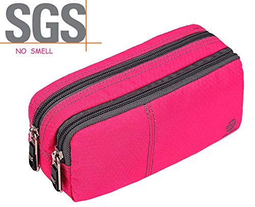 Big Capacity Pencil Case Pencil Bags with Zipper Durable Soft Fabric Pencil Pouch for Teen Girls Office Ladies Pink 60 Pens by Only Warm