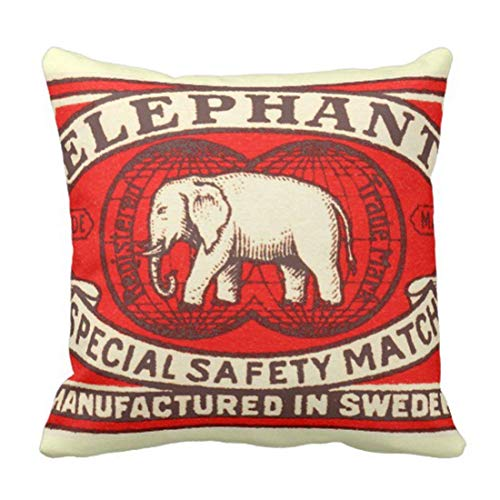 (LMHB Throw Pillow Cover Red Vintage Elephant Yellow Matchbook Decorative Pillow Case Home Decor Square 18 x 18 Inch Pillowcase)