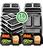 Green vege Bento 16 Pack Meal Prep Containers 3 Compartment Food Storage Containers with Lids,BPA Free,Microwave,Dishwasher Safe-Reusable Plastic Bento Lunch Boxes Container Portion Control(32oz)