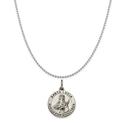 e8eb12f0c78 Sterling Silver Satin Antiqued Spanish St. Lucy Medal Pendant on a Sterling  Silver Ball Chain