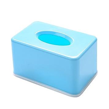 BESTOMZ Estilo Simple Cosmética Toallitas Cubierta de la Caja Rectangular Funda de Tela Funda de servilleta para Car Desk Oficina de Baño (Azul): Amazon.es: ...
