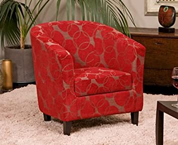 Sofa Collection Brand New Benissa Funky Tub Chair/Armchair Seating, Fabric,  Red,