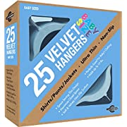 Closet Complete Baby Size, Premium Heavyweight, Velvet Hangers – Ultra-Thin, Space Saving, No-Slip, Perfectly Sized For Babies 0-48 months, Blue, Set of 25
