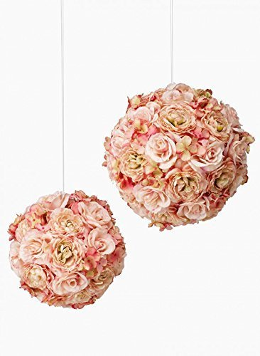 Handcrafted Silk Pink Roses Hydrangea Ball Series III