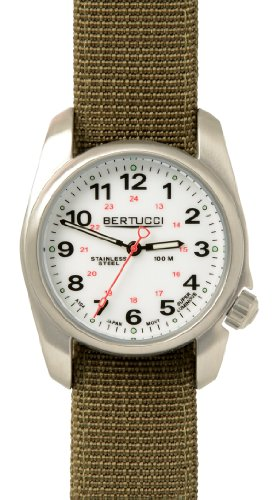 Bertucci A-1S Field Watch White/Stainless Steel-Olive Band 10013