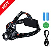 Amazon #LightningDeal 79% claimed: Headlamp, [High Quality]Pictek Flashlight LED Headlamps Super Bright Waterproof 3 Modes Outdoor Rechargeable Sport Flashlight with Cree T6 Chip and Adjustable Elastic Head Strap for Camping Hiking Reading