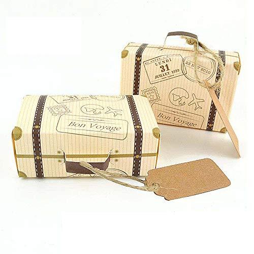 EDOBLUE Mini Vintage Kraft Suitcase Favor Box Party Decorations Candy Boxes for Wedding Bitrhday Bridal Shower Travel]()