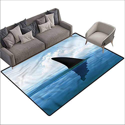 Large Floor Mats for Living Room Colorful Shark,Fin Sea Surface Danger 48