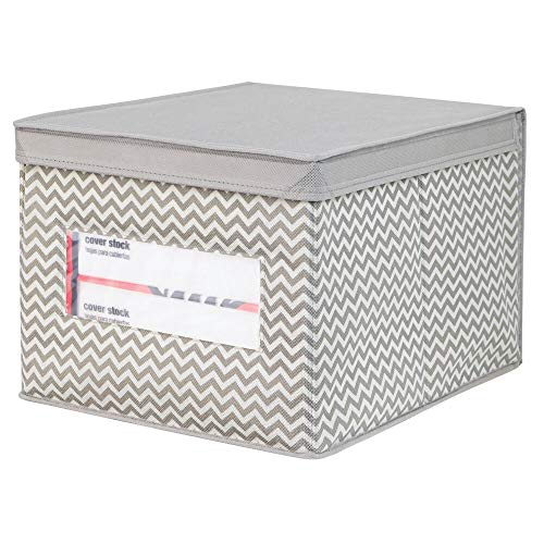 - mDesign Decorative Soft Stackable Fabric Office Storage Organizer Holder Bin Box Container - Clear Window, Lid, for Cabinets, Drawers, Desks, Workspace, Large, Foldable - Chevron Print - Taupe/Tan