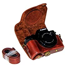 Clanmou G5X Protective Leather Camera Case Bag for Canon PowerShot G5 X DSLR Camera Accessory Coffee