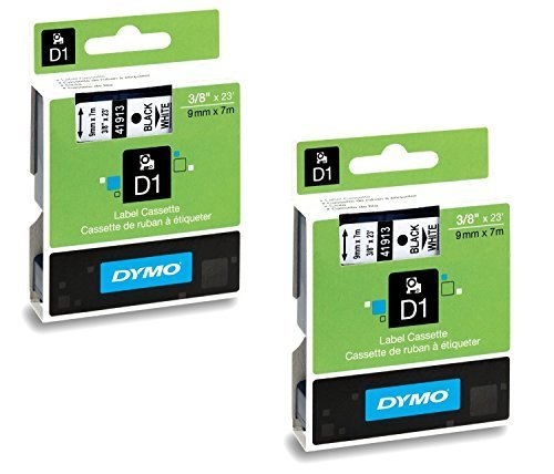 Ink Dymo Label Cartridge - DYMO 41913 D1 Tape Cartridge for Dymo Label Makers, Created Specifically for Your LabelManager and LabelWriter Duo Label Makers, 3/8-inch x 23 Feet, Black on White, Pack of 2