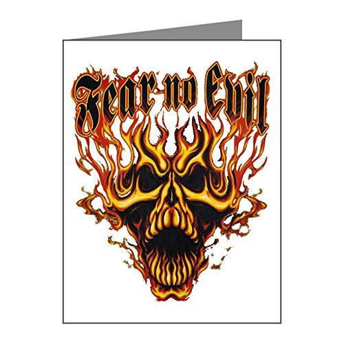 - X-Large Greeting Card Fear No Evil Flaming Skull
