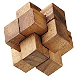 BRAIN GAMES Burr Wooden Puzzle (4 Inches)