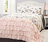 3 Piece Colorful Printed Butterflies All Over Design Quilt Set Full/Queen Size, Featuring Shabby Ruffles Comfortable Bedding, French Country Princess Inspired Girls Bedroom Decoration, Pink, Multi