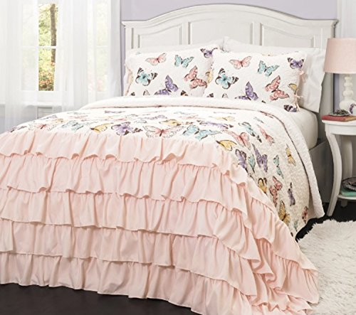 2 Piece Colorful Printed Butterflies All Over Design Quilt Set Twin Size, Featuring Shabby Ruffles Chic Comfortable Bedding, French Country Princess Inspired Girls Bedroom Decoration, Pink, Multicolor by SE