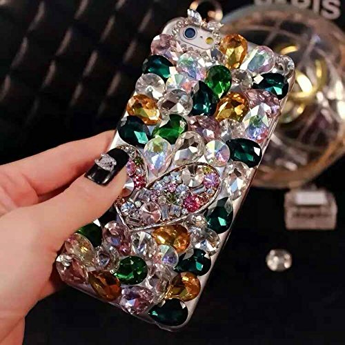6 Case, 6s Case, LU2000 3D Crystals Diamond Sparkle Jeweled Bling [Heart Series] Phone Soft Case for Apple iphone 6 6s (4.7 inch) AT&T Verizon Sprint - Pattern NO.7: Green Theme