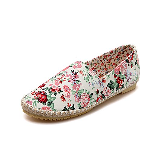Lucksender Womens Floral Mocassin Chaussures Rouges